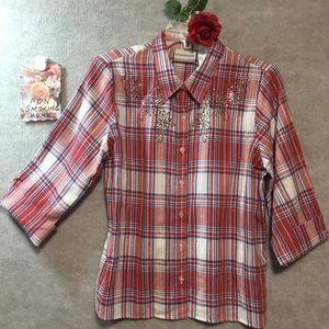 RED PLAID ALFRED DUNNER  PETITE TOP SEQUINS 10P